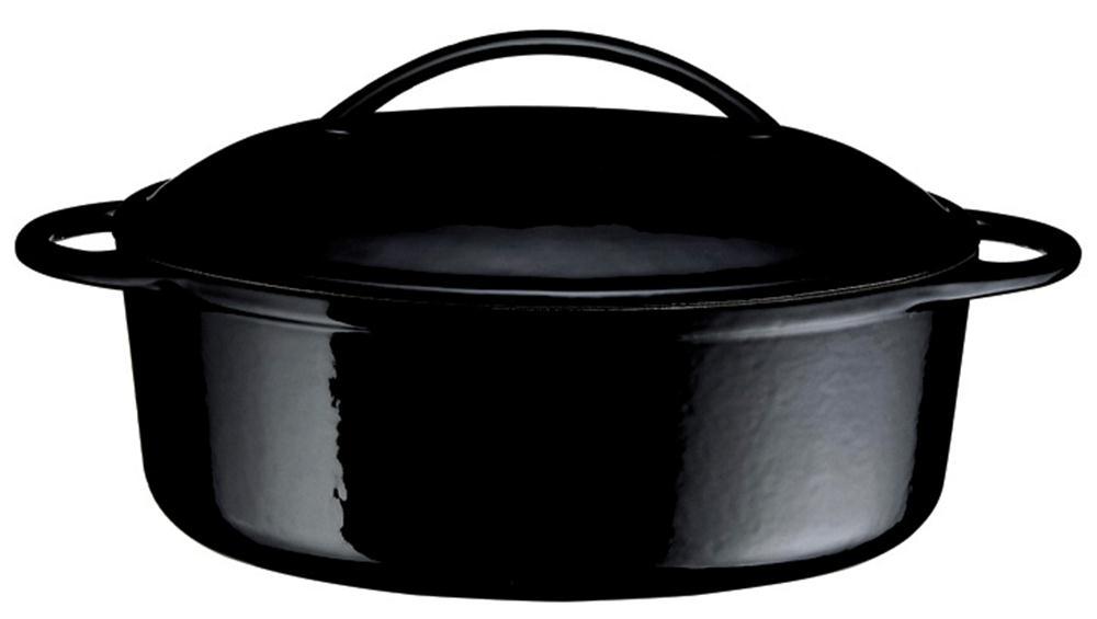 cocotte en fonte ovale noire 28 cm 2 litres tom press. Black Bedroom Furniture Sets. Home Design Ideas