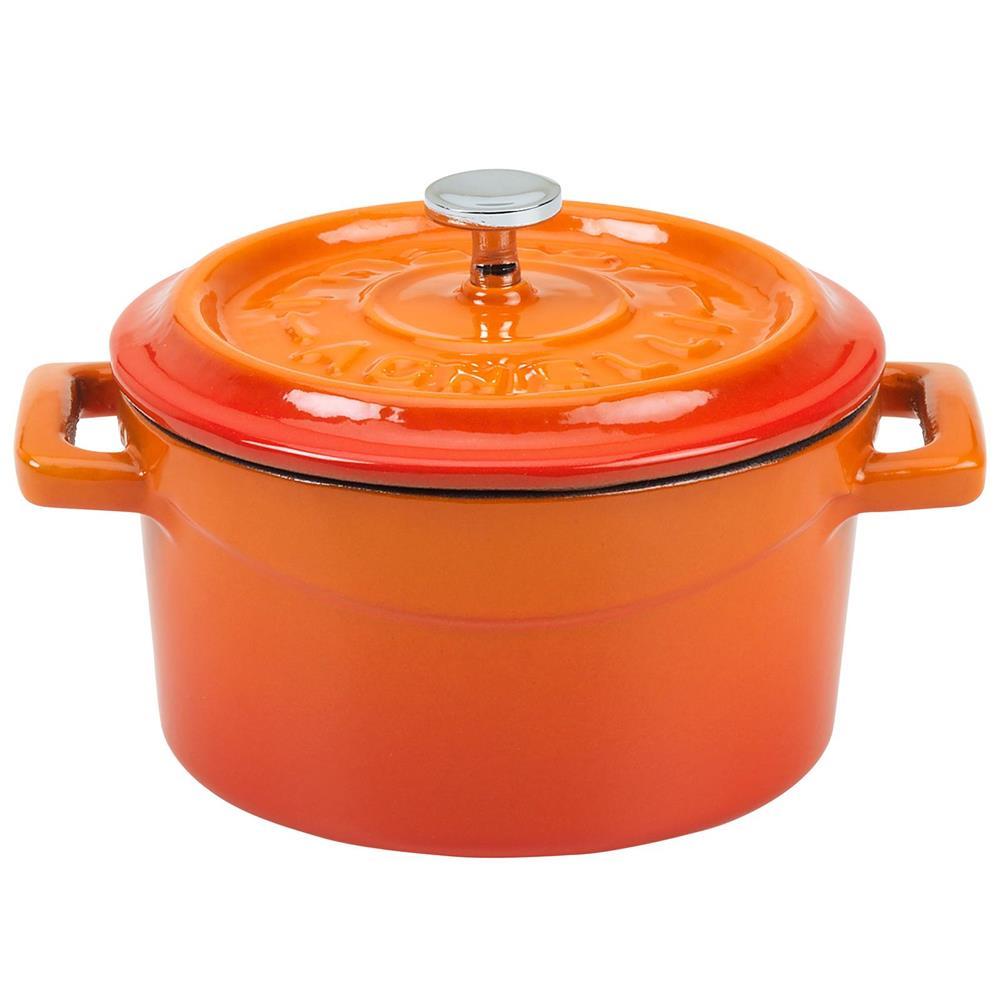 petite cocotte 14 cm orange en fonte tom press. Black Bedroom Furniture Sets. Home Design Ideas