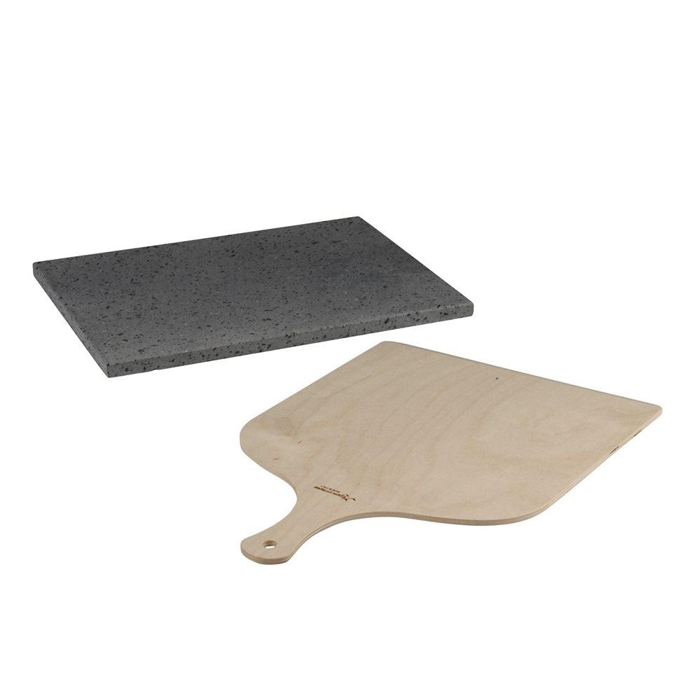 plaque de cuisson r fractaire en pierre de lave avec pelle tom press. Black Bedroom Furniture Sets. Home Design Ideas