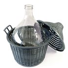 Dame jeanne 34 litres bonbonne en verre pour liquides alimentaires avec habillage plastique