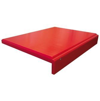 Planche à découper rouge avec rebord en polyéthylène de 60x40 cm