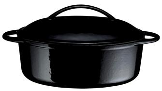Cocotte en fonte ovale noire 34 cm 4,5 l.