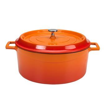 Cocotte en fonte ronde 32 cm orange