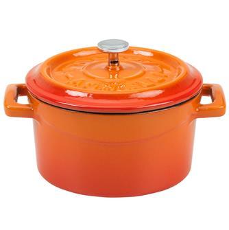 Mini cocotte 10 cm orange en fonte