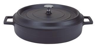 Cocotte ronde basse 28 cm noir mat