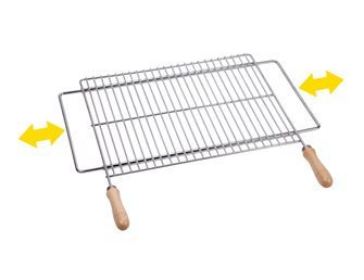 Grille de barbecue 60x40 cm inox support extensible