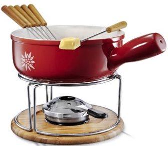 Service à fondue savoyarde rouge