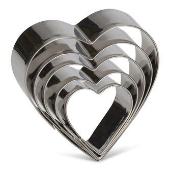 Lot de 5 emporte-pièces cœur en inox