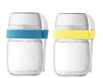 2 pots compartimentés à emporter pour yaourtière jaune et bleu