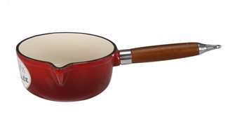 Poêlon en fonte rond rouge de 16 cm et 1,45 l