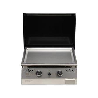 Plancha gaz 6 kW plaque inox 55x45 habillage inox anti-trace capot noir