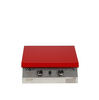 Plancha gaz 6 kW plaque inox 55x45 habillage inox anti-trace capot rouge