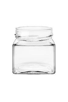 Bocal verre carré de 212 ml à capsule avec jupe haute 66 mm par 24