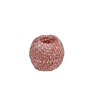 Pelote 200 g de ficelle pour charcuterie lin rustique chinée blanche et rouge
