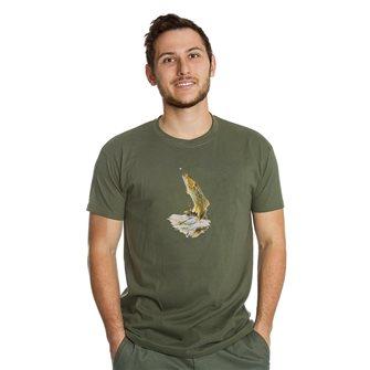 Tee shirt homme Bartavel Nature kaki sérigraphie truite au bout de la ligne XL