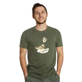 Tee shirt homme Bartavel Nature kaki sérigraphie bécasse et ses petits dans son nid L