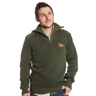 Pull col camionneur homme Bartavel P62 kaki M broderie chien