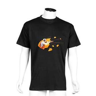 Tee shirt Bartavel Nature noir sérigraphie chasseur en position de tir 3XL