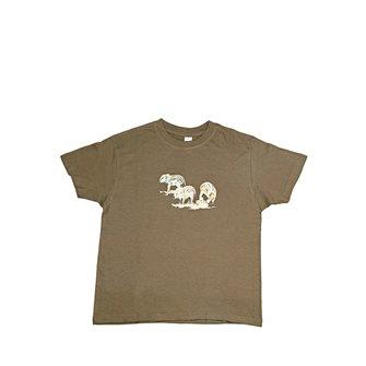Tee shirt Bartavel Nature kaki sérigraphie trio de marcassins 9-11 ans