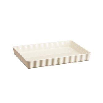 Plat à tarte rectangulaire Emile Henry en céramique blanc Argile
