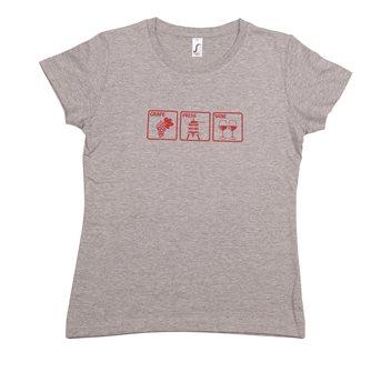 T-shirt femme L Grape Press Wine Tom Press gris chiné sérigraphie bordeaux