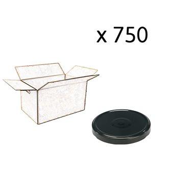 Capsules twist off noires de 82 mm de diamètre par carton de 750