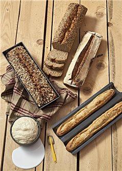 Box HomeMadeBread : plaque 2 baguettes moule à pain 35 cm grignette et corne souple