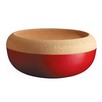 Coupe à fruits et oignons grand modèle plateau liège bol de conservation rouge Grand Cru Emile Henry