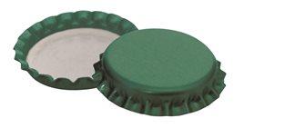 Bouchons couronne 26 mm verts pour bouteilles à bière