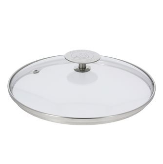 Couvercle en verre 28 cm avec bord et poignée inox
