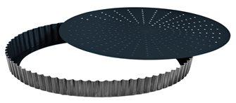 Moule à tarte 28 cm perforé fond amovible antiadhérant Obsidian