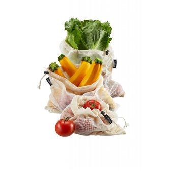3 sacs à fruits et légumes réutilisable 100% coton