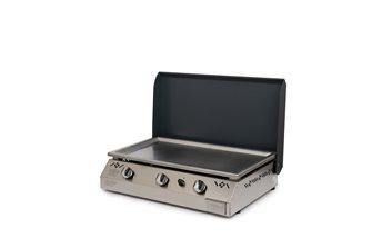 Plancha gaz 9 kW plaque inox 78x45 habillage inox anti-trace capot gris anthracite