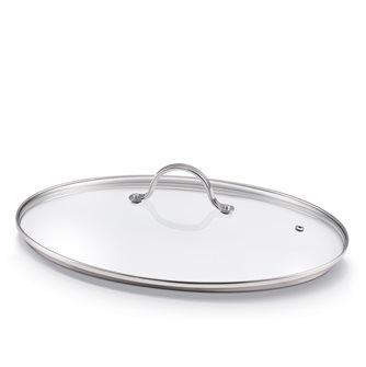 Couvercle verre ovale 37 cm pour poêle à poisson