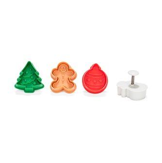 Lot de 4 emporte-pièces avec poussoir spécial Noël