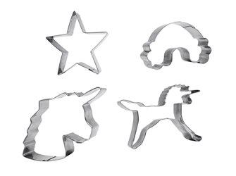 Lot de 4 emporte-pièces inox 2 licornes arc en ciel étoile
