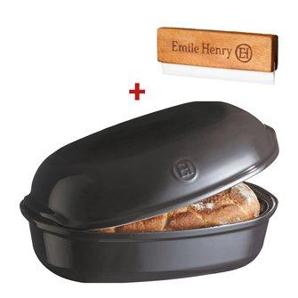 Moule à pain artisan miche et gros pain en céramique gris anthracite Fusain Emile Henry + grignette OFFERTE