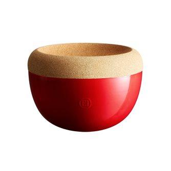 Coupe à fruits haute 4,7 l. Emile Henry bol de conservation céramique rouge Grand Cru plateau liège
